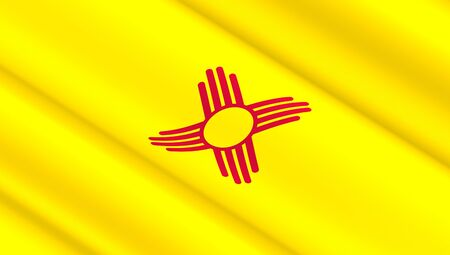 Waving flag of New Mexico state. 3D illustration.