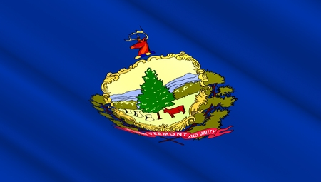 swinging: Waving flag of the state of Vermont. 3D illustration.