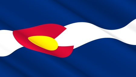 country: Waving flag of Colorado state. 3D illustration.