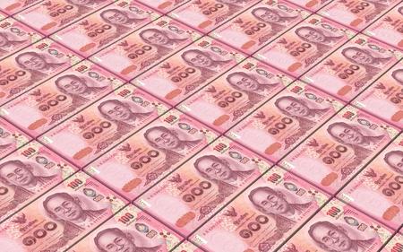 Thai baht bills stacked background. 3D illustration Stock Photo