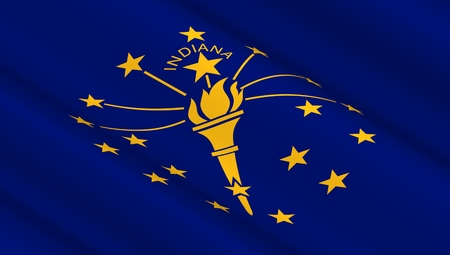 Waving flag of Indiana state. 3D illustration.