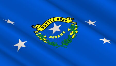 Waving flag of Nevada state. 3D illustration.