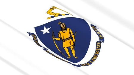 Waving flag of Massachusetts state. 3D illustration. Stock Photo