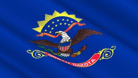 Waving flag of North Dakota state. 3D illustration. Stock Photo