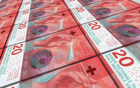 Swiss franc bills stacks background. 3D illustration.