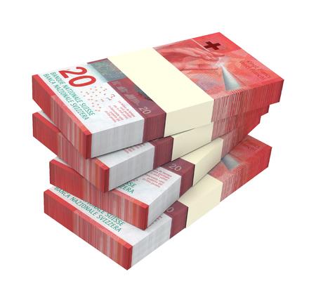 Swiss money isolated on white background. 3D illustration.