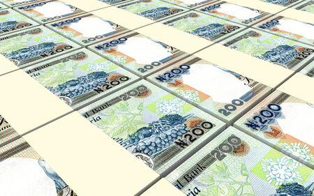 money packs: Nigerian nairas bills stacked background. 3D illustration.