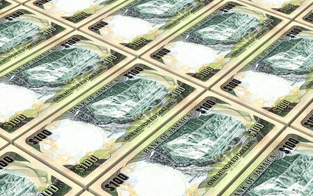 one dollar bill: Jamaican dollar bills stacks background. 3D illustration. Stock Photo