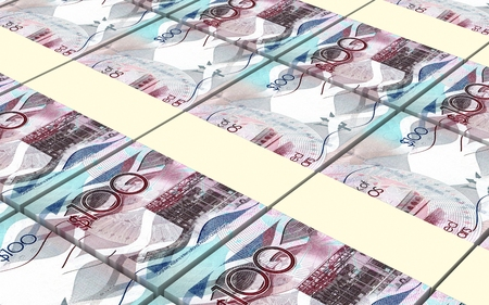 one dollar bill: Barbadian dollar bills stacked background. 3D illustration