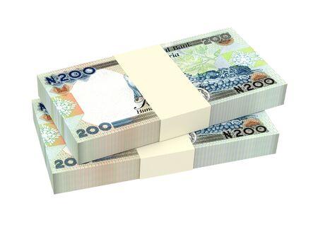 money packs: Nigerian nairas bills isolated on white background. 3D illustration.