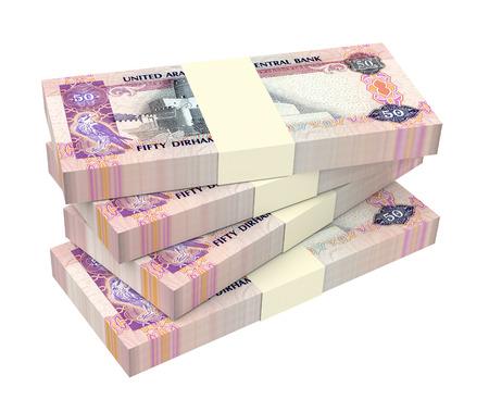 money packs: United Arab Emirates dirhams bills isolated on white background. 3D illustration.