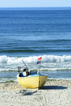 Fishing boat on Baltic Beach in Piaski near Krynica Morska, Poland Banque d'images