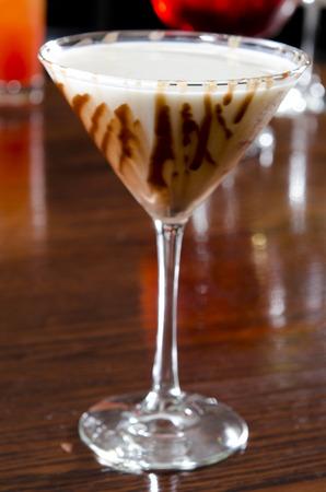 Espresso Martini with a Chocolate Drizzle Stock Photo