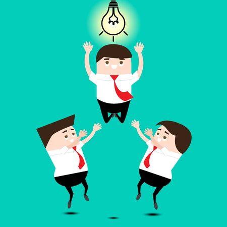 manos unidas: Concepto de trabajo en equipo: los trabajadores Saltar para la bombilla o la idea juntos. Vectores