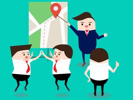 Teamworkconcept: Leider met kaart die beste route en plan verklaart. Vector illustratie. Stock Illustratie