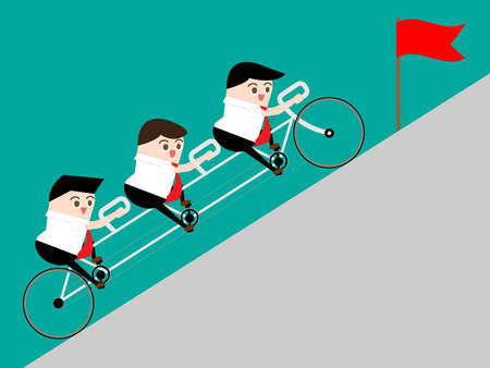 Teamwork concept: Businessman ride tandem to top of road for getting flag. Work together to rise profit and get goal. Vector illustration. Illustration