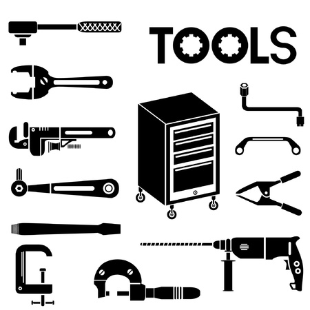 tools, mechanical equipment icon set, engineering tools Stock Vector - 20282242