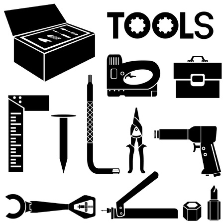tools, mechanical equipment icon set, engineering tools Vector