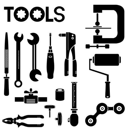 herramientas de mecánica: herramientas, equipos mec?nicos conjunto de iconos, herramientas de ingenier?a Vectores