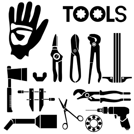 bearing: tools, mechanical equipment icon set, engineering tools