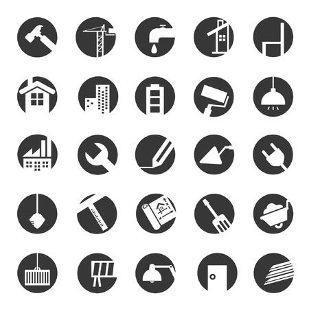 edificio: en iconos de la construcción, la ingeniería civil Vectores
