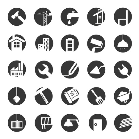 under construction icons, civil engineering Illustration