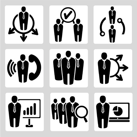 contact centre: business management and human resource vector icons