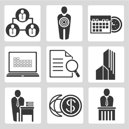professional management, business management icons set, vector Vector