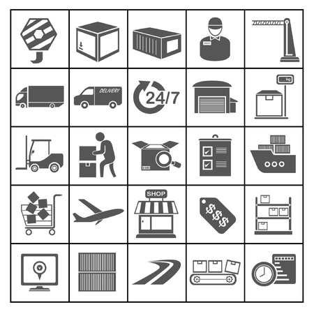 shipping icons set, logistic icons