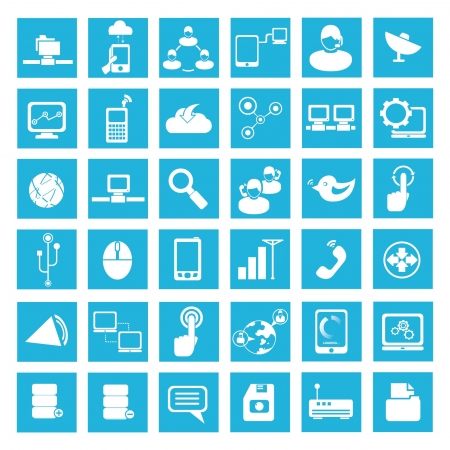 network and communication icons set, social network Vector