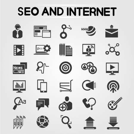 seo icons, search engine optimization icons set Vector