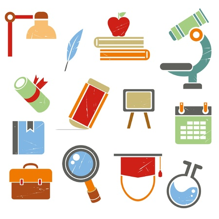 school and education icons set, grunge icons, vintage style Vector