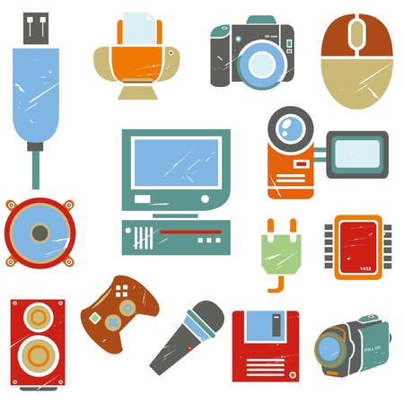 handycam: electronic icons set, grunge icons, vintage style Illustration