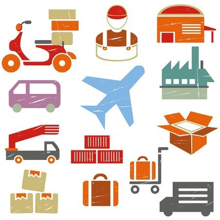 waggon: shipping and transportation icons set, grunge icons, vintage style