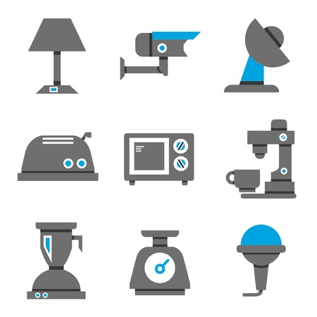 kitchen device: electronic icons, black and blue theme