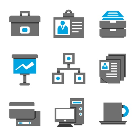 incorporation: office icons, black and blue theme
