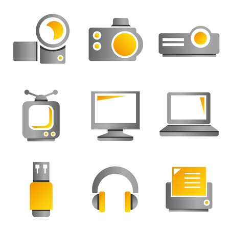 handycam: electronic device and multimedia icons, gold color theme