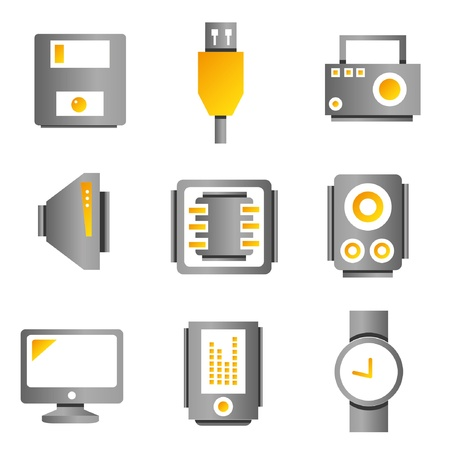 electric system: electronic device and multimedia icons, gold color theme