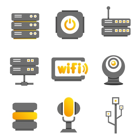 electronic device: network, electronic device and multimedia icons, gold color theme Illustration