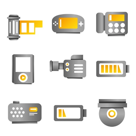 electronic device: electronic device and multimedia icons, gold color theme