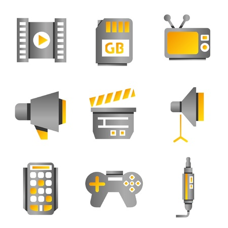 electronic device and multimedia icons, gold color theme Stock Vector - 20608951