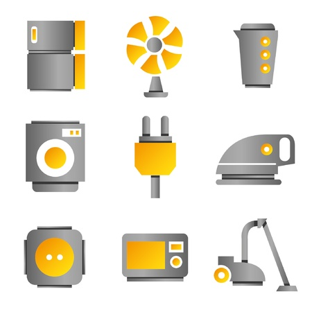 electronic device icons, household icons, gold color theme Vector