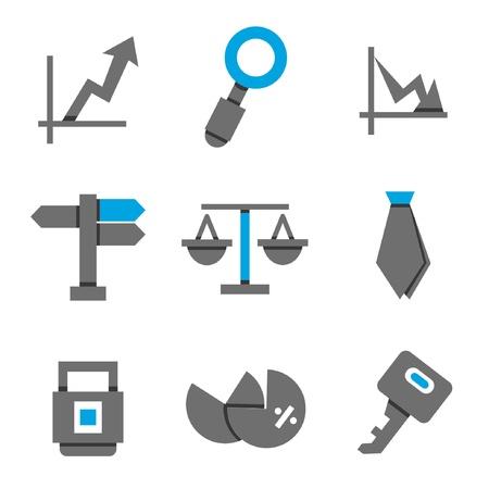 percentages: financial icons set, blue color theme