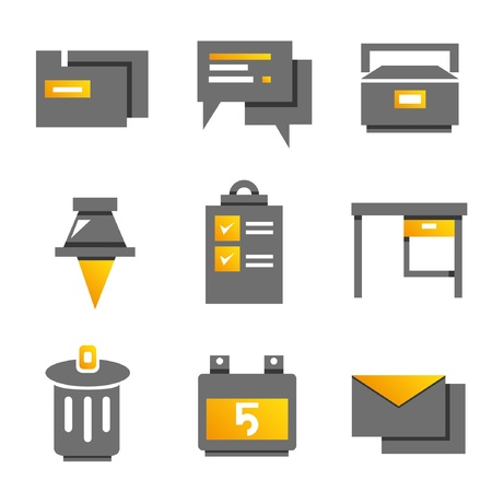 office icons, gold color theme Stock Vector - 20608932