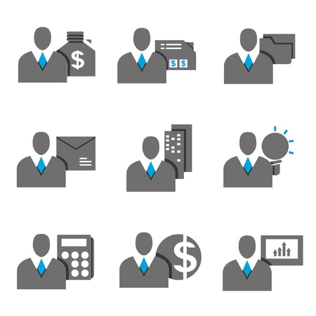 business person, business management icons set, blue theme Stock Vector - 20608943