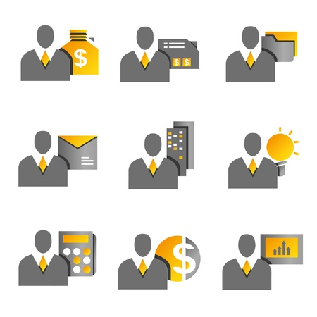 salary man: business management concept icons, business people, yellow and gold color theme Illustration