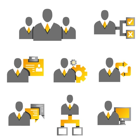 allocate: human resource and business management concept icons, business people, yellow and gold color theme Illustration