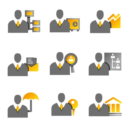 men at work sign: business management and financial concept icons, business people, yellow and gold color theme