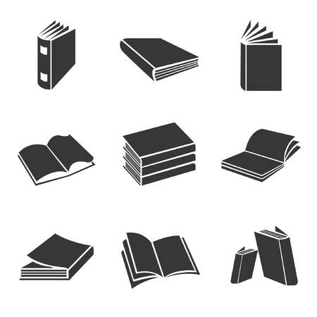 open diary:  book icons, vector set Illustration