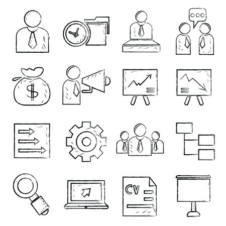 office icons, sketch style Vector